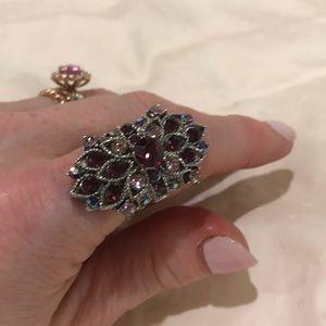 Jewelry - Vintage style amethyst rhinestone ring